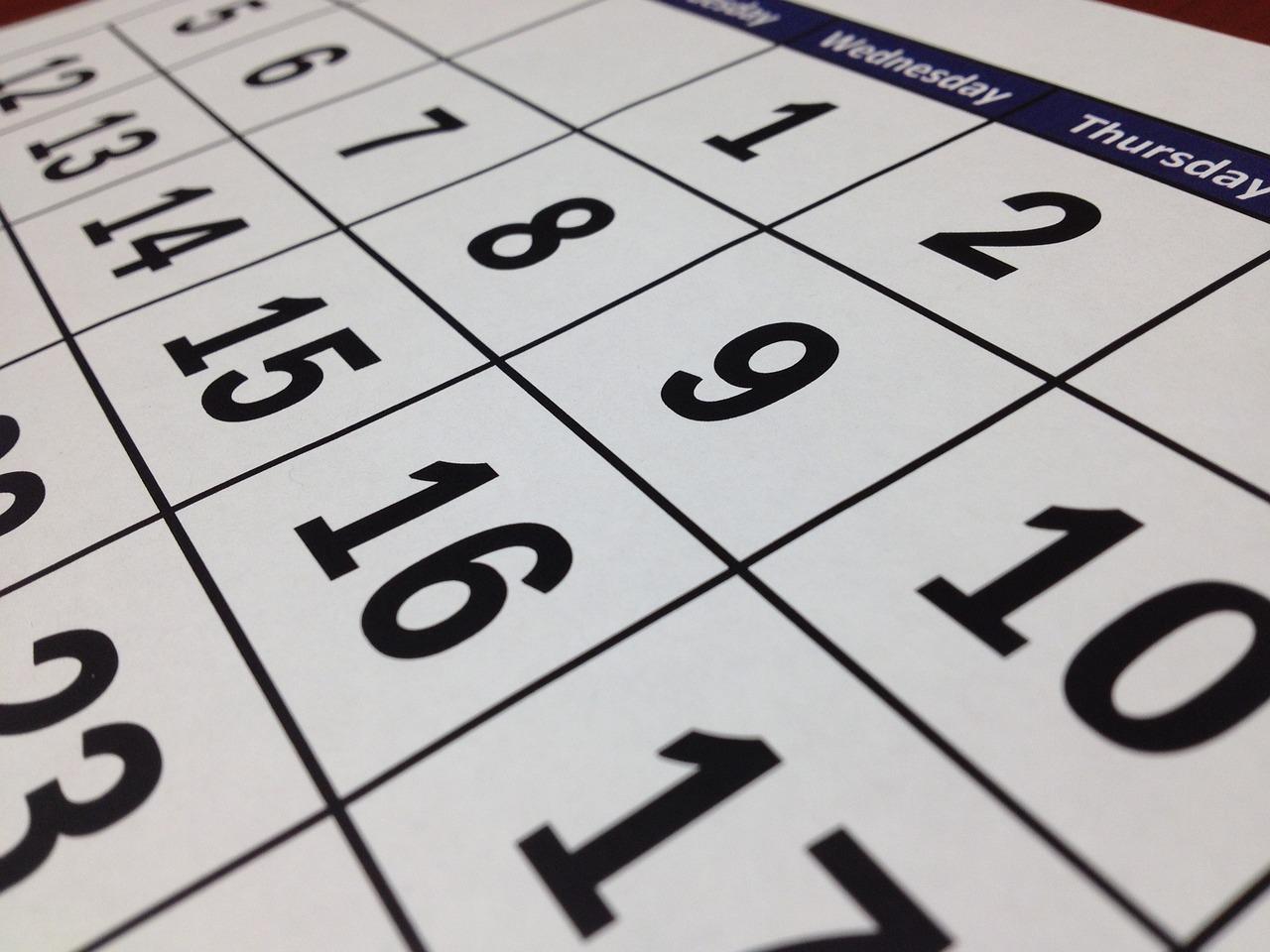 calendrier bancaire
